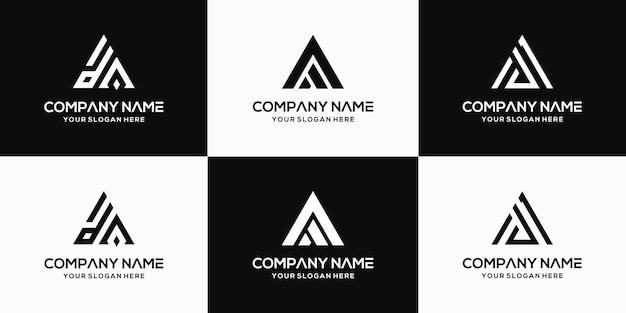 Set of creative letter da logo design template