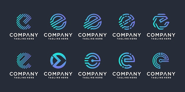 Set of creative letter e logo design inspiration