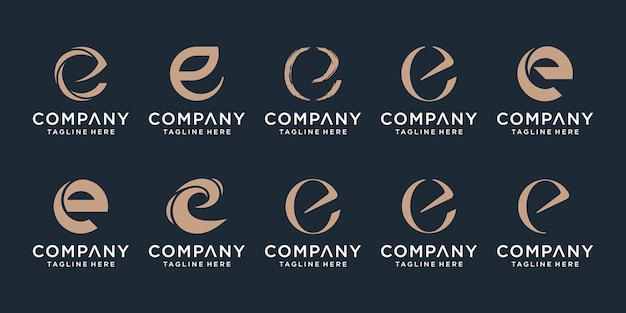 Set of creative letter e logo design template icons for business of finance technology luxury