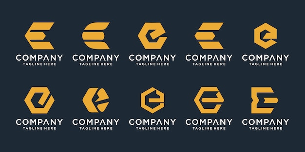 Set of creative letter e logo design template.