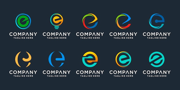 Set of creative letter e logo  template. icons for business of finance, consulting, simple.