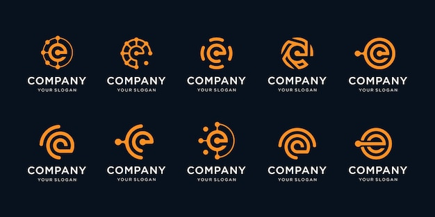 Set of creative letter e logo template icons