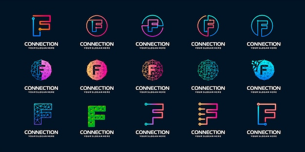Set of creative letter f modern digital technology logo . the logo can be used for technology, digital, connection, electric company.