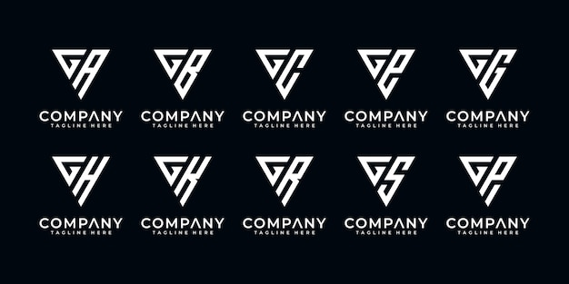 Set of creative letter g and etc logo template with triangle art style. icons for business of finance, consulting, simple.