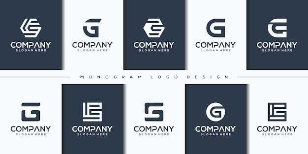 Set creative letter g logo design
