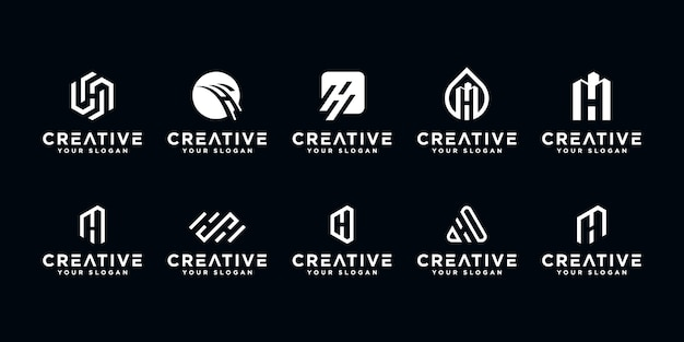 Set of creative letter h logo design template