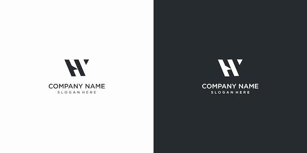 Set of creative letter hw logo desidn template