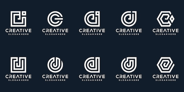 Set of creative letter j logo design collection