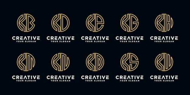 Set of creative letter k and etc logo design template