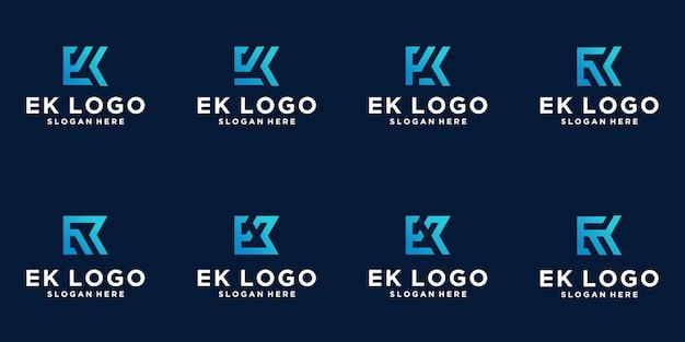 Set of creative letter k logo design. line concept