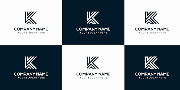 Set of creative letter k logo design template