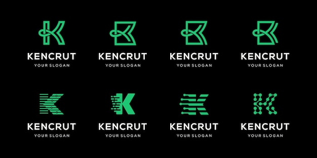 Set of creative letter k logo design template