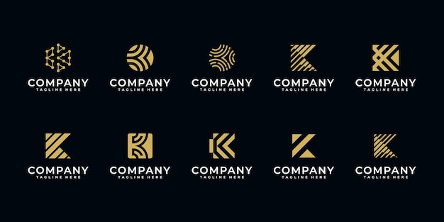 Set of creative letter k logo design templater