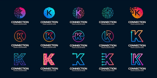 Set of creative letter k modern digital technology logo . the logo can be used for technology, digital, connection, electric company.