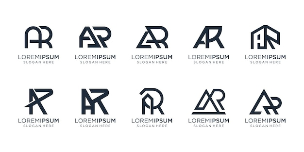 Set of creative letter a and letter r design template. icons for business of consulting,technology.