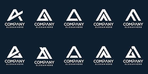 Set of creative letter a logo design collection