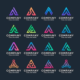 Set of creative letter a logo design template. s for business of luxury, elegant, simple.