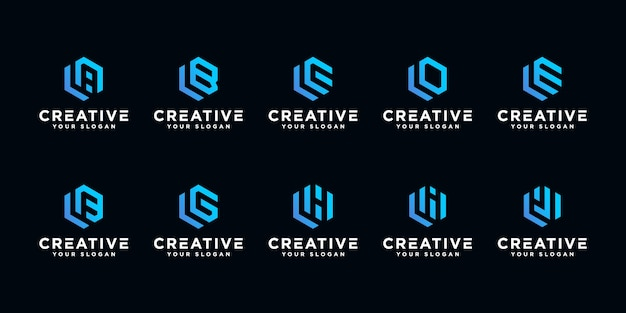 Set of creative letter logo design template. with hexagon art style.