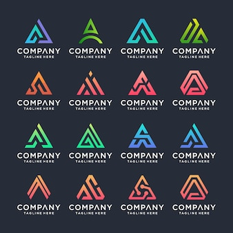 Set of creative letter a logo design template