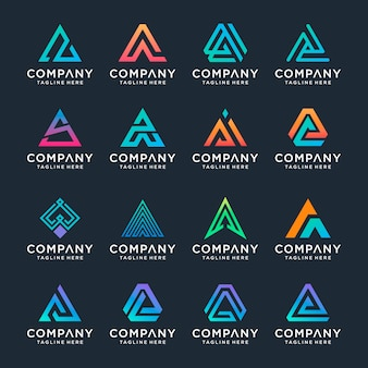 Set of creative letter a logo design template.