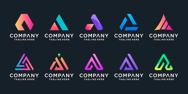Set of creative letter a logo  template.