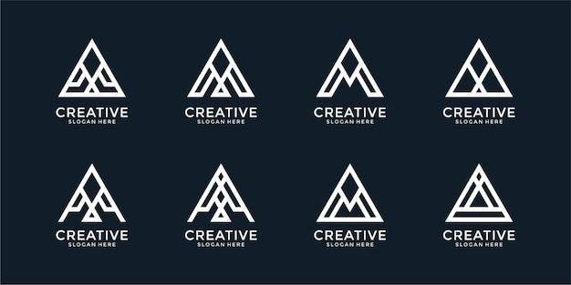 Set of creative letter a logo template