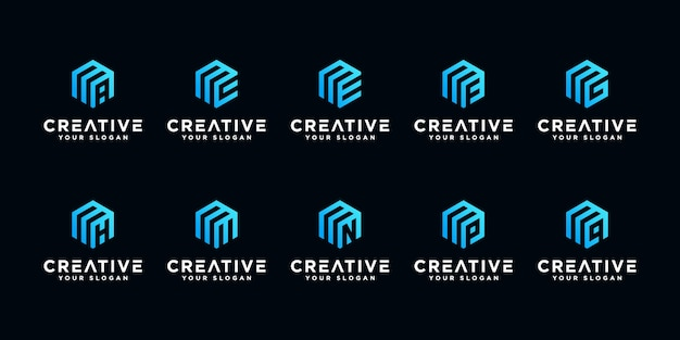 Set of creative letter m and etc with hexagon logo design inspiration.