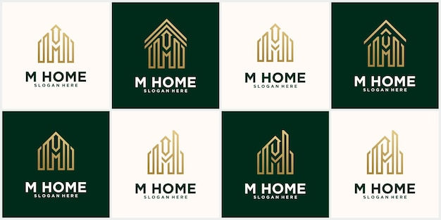 Set creative letter m home, real estate logo template