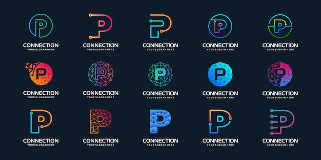 Set of creative letter p modern digital technology logo . the logo can be used for technology, digital, connection, electric company.