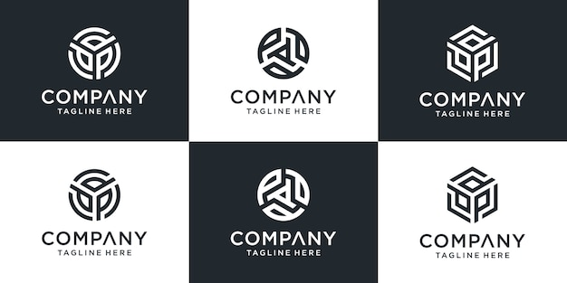 Set of creative letter ppp logo  template