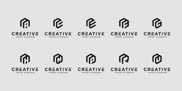 Set of creative letter r and etc with hexagon logo design inspiration.