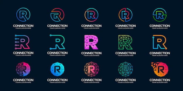 Set of creative letter r modern digital technology logo . the logo can be used for technology, digital, connection, electric company.