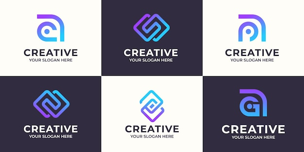 Set of creative letter a and s abstract logo design