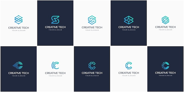 Set of creative letter s and c, modern digital technology logo.