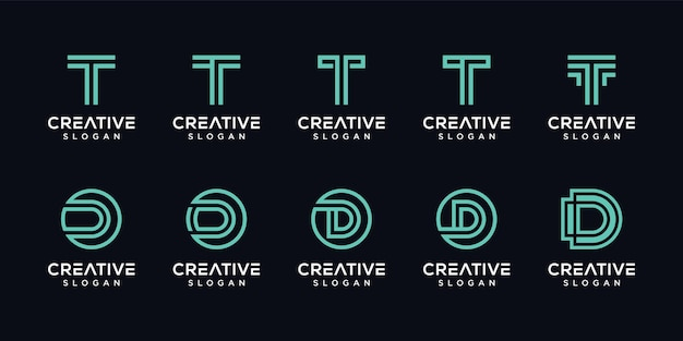 Set of creative letter t, d monogram logo