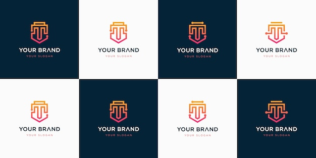 Set of creative letter t logo design inspiration.