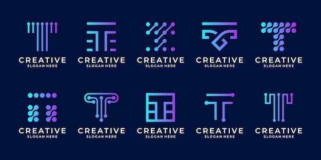 Set of creative letter t modern digital technology logo design template