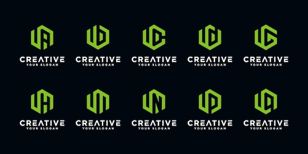 Set of creative letter u and etc logo design template with hexagon style