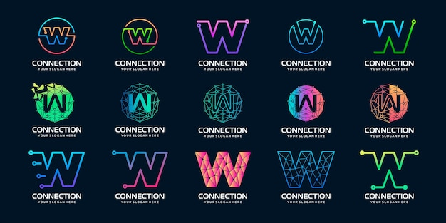 Set of creative letter w modern digital technology logo design the logo can be used for technology