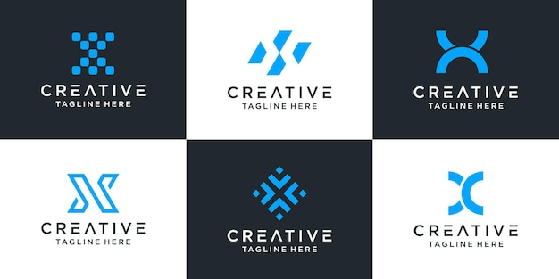 Set of creative letter x logo abstract design inspiration