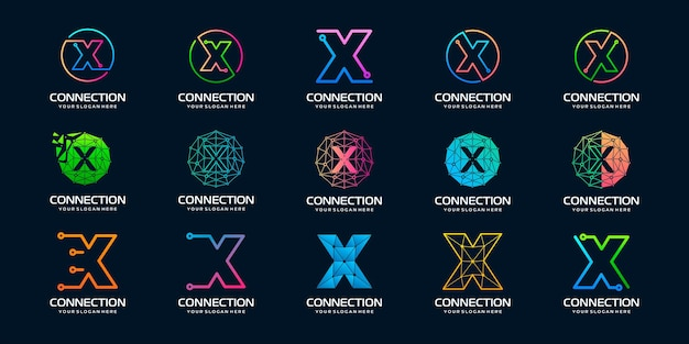 Set of creative letter x modern digital technology logo design the logo can be used for technology
