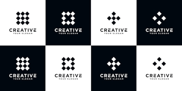 Set of creative letter x monogram abstract logo design template