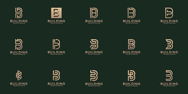 Set of creative lettermark monogram  letter b logo  template.