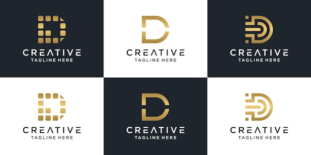 Set of creative lettermark monogram letter d logo template.