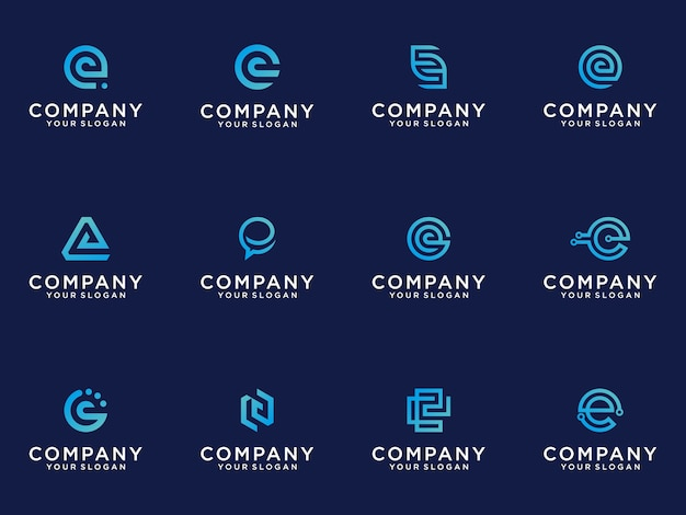 Set of creative lettermark monogram  letter e logo  template.