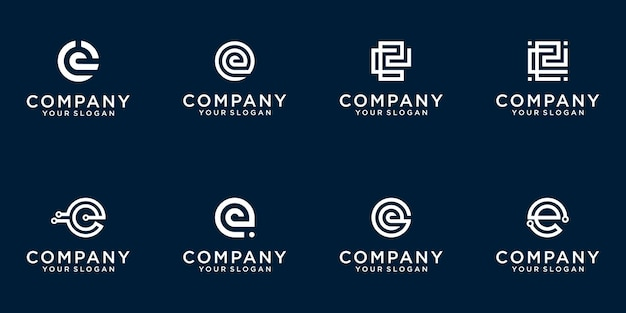 Set of creative lettermark monogram letter e logo template