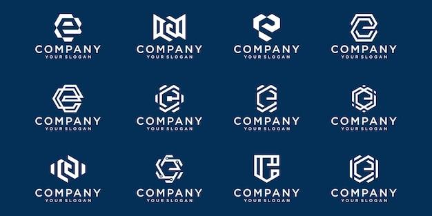 Set of creative lettermark monogram letter e logo template