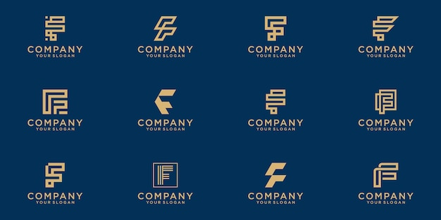 Set of creative lettermark monogram  letter f logo  template.