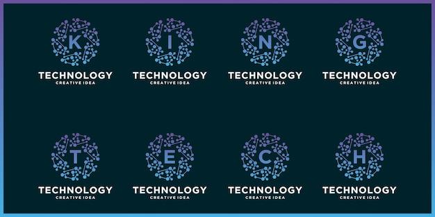 Set creative logo of a circle technology