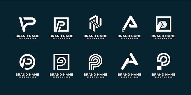 Set of creative logo collection with initial p premium vector
